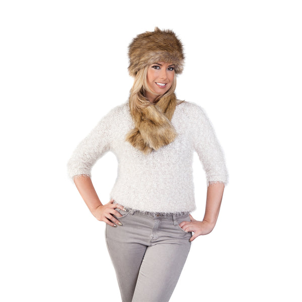 Faux Fur Russian Style Hat & Tippet Scarf - Tibet Brown