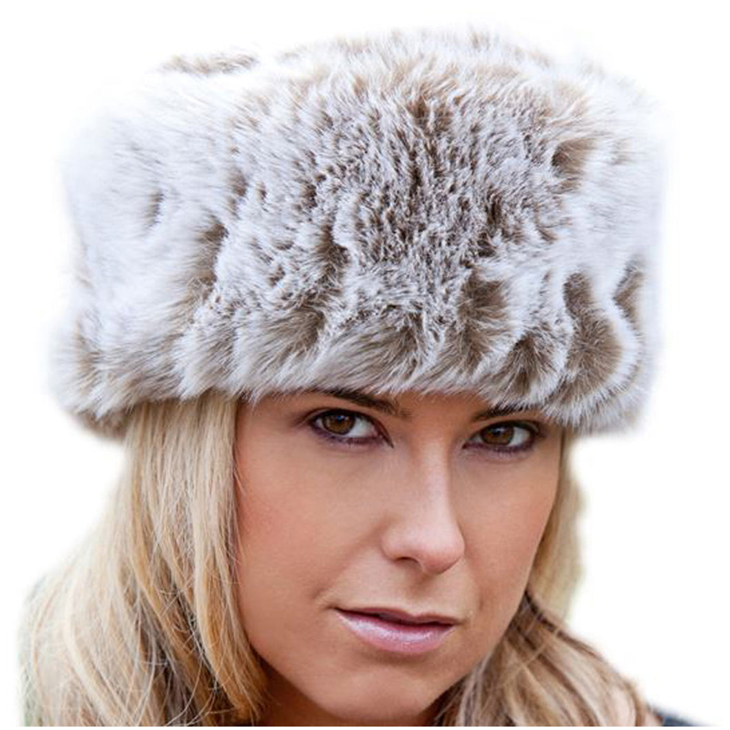 Faux Fur Russian Style Hat - Light Brown Frost - Medium (59cm)