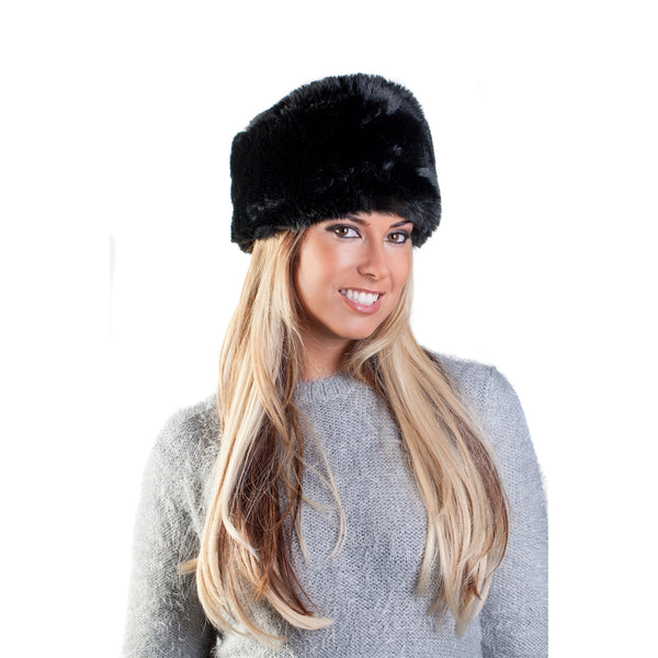 Faux Fur Russian Hat - Prussian Black