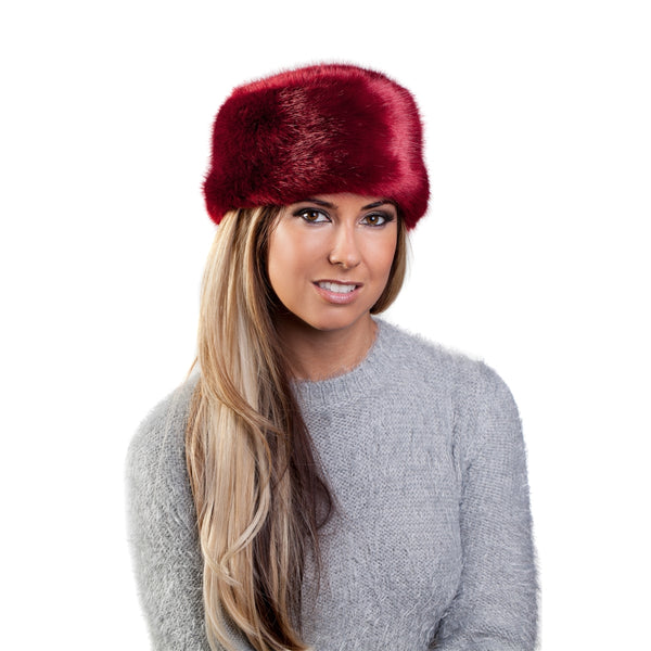Faux Fur Russian Hat - Ruby Red