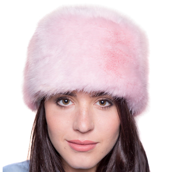 Faux Fur Russian Style Hat - Pale Pink - Large (63cm)