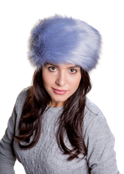 Faux Fur Russian Hat - Cornflower Blue, one size