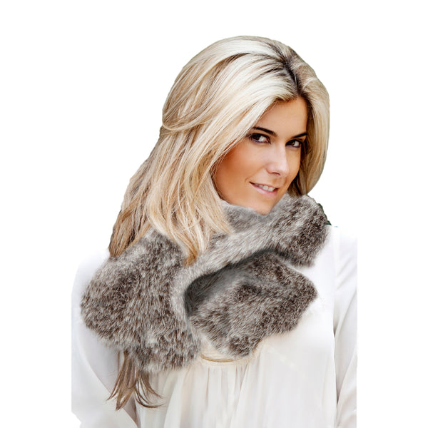 Faux Fur Ruffle Scarf - Light Brown Frost