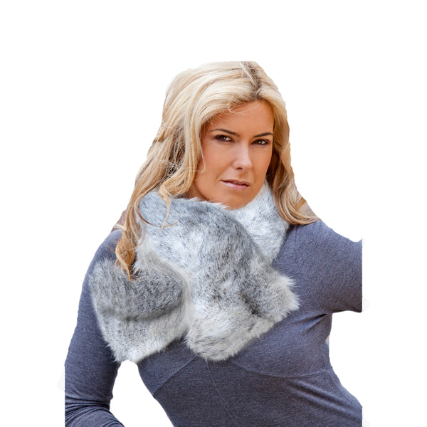 Faux Fur Ruffle Scarf - Snow Fox Black