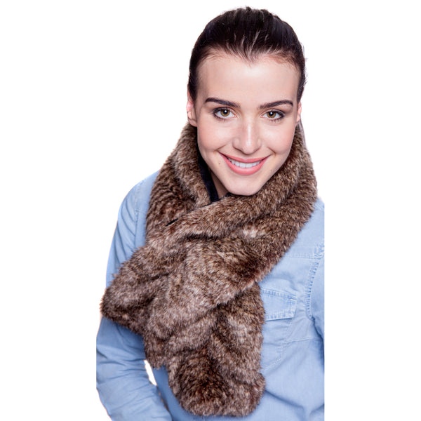 Faux Fur Ruffle Scarf - Oyster Brown