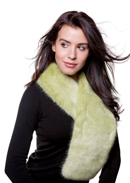 Faux Fur Tapered Scarf - Willow green