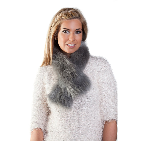 Faux Fur Tippet Scarf - Silver Grey