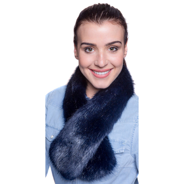 Faux Fur Tippet Scarf - Midnight Blue