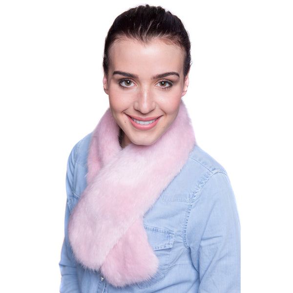Faux Fur Tippet Scarf - Pale Pink