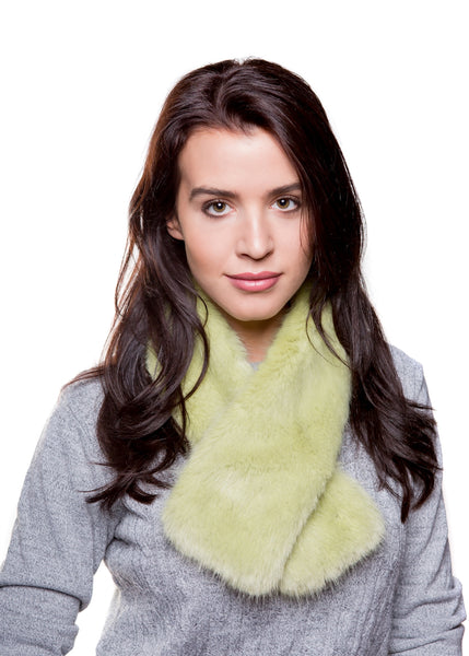 Faux Fur Tippet Scarf - Willow Green