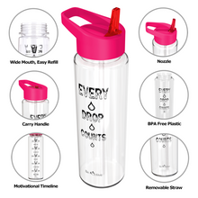 Load image into Gallery viewer, Motivational Sports Water Bottle Pink
