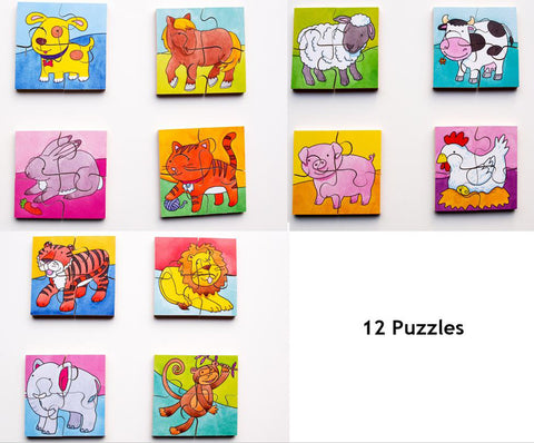 Early Years Jigsaw Puzzles - 12 Farm, Pets & Jungle Animals puzzles