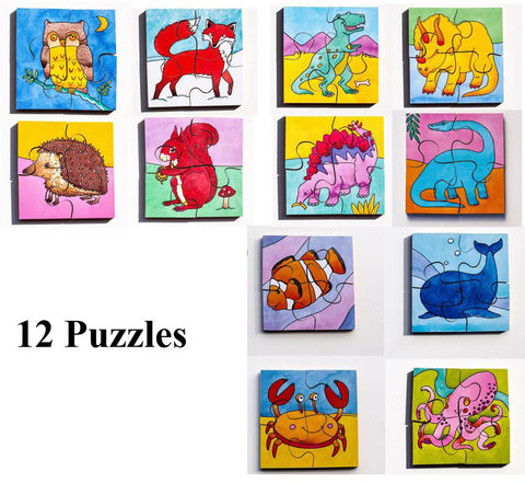 Early Years Jigsaw Puzzles - 12 Sealife,Woodland & Dinosaur puzzles
