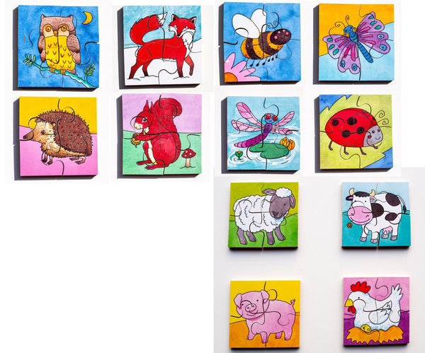 Early Years Jigsaw Puzzles - 12 Woodland, Insect & Farm Animal puzzles