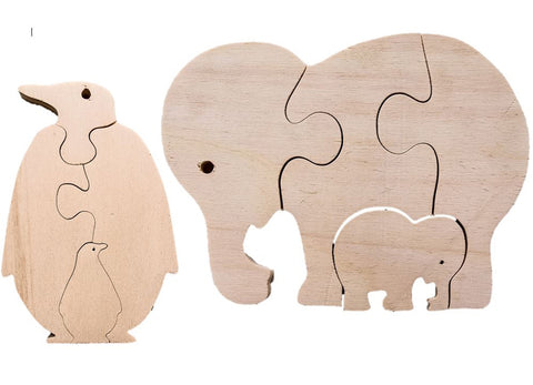 Early Years Parent & Baby Jigsaw Puzzles - Elephant & Penguin ( 2 puzzles)