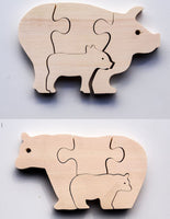 Early Years Parent & Baby Jigsaw Puzzles - Pig & Polar Bear ( 2 puzzles)
