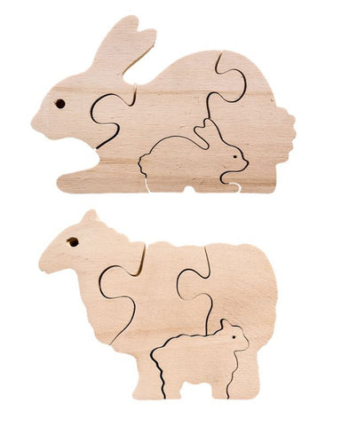 Early Years Parent & Baby Jigsaw Puzzles - Rabbit & Sheep ( 2 puzzles)