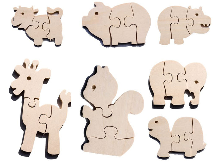 Early Years Wooden Jigsaw Puzzles -  Safari, Farm & Forest Animals (7 puzzles)