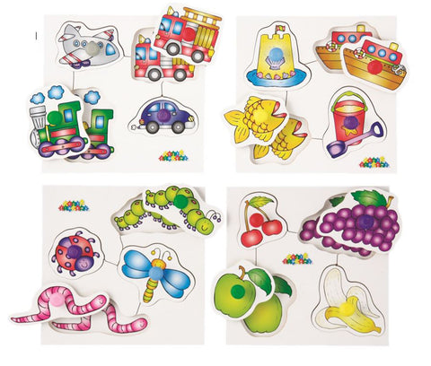 Early Years Peg Board1 - Animals, Fruit, Seaside & Transport (4 in one box)