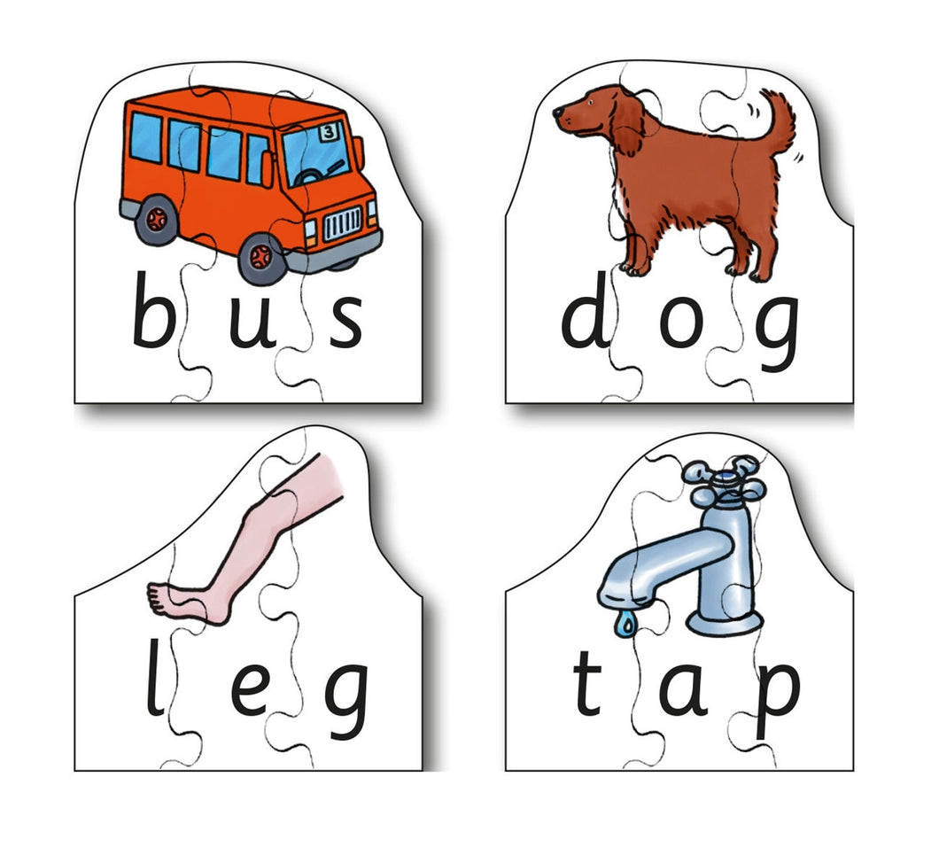 Early Years CVC Puzzles - Bus, Dog, Leg & Tap (4 puzzles in one box)