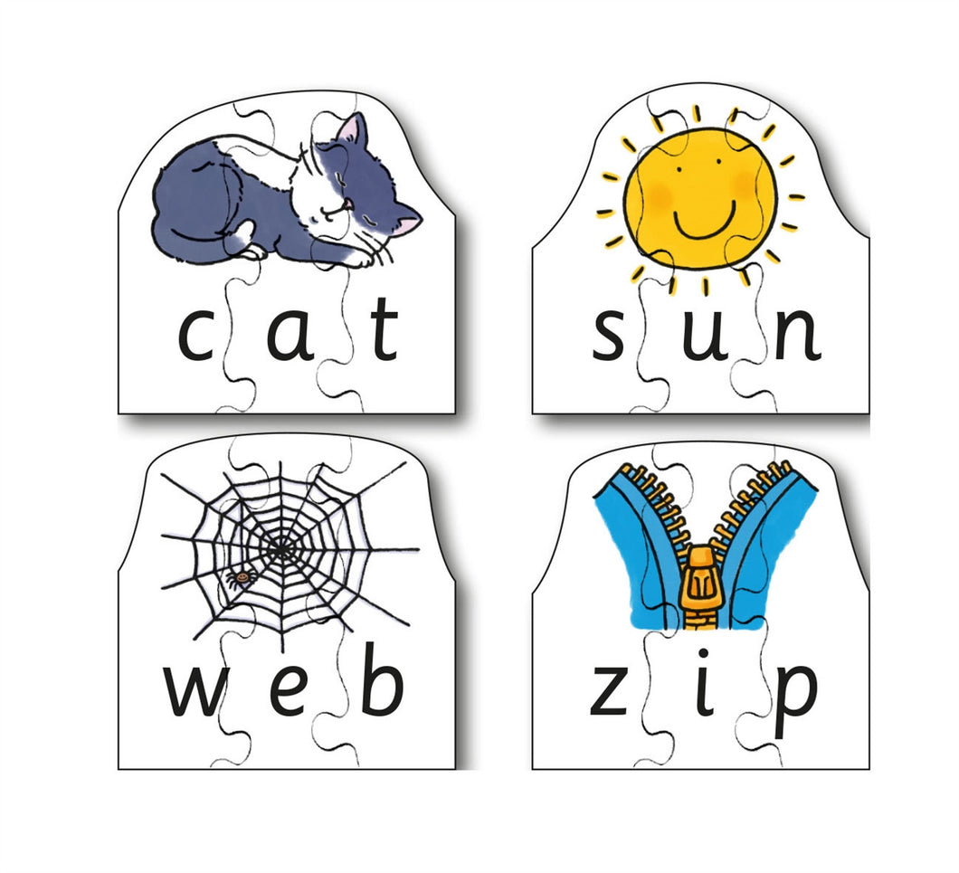 Early Years CVC Puzzles - Cat, Sun, Web & Zip (4 puzzles in one box)