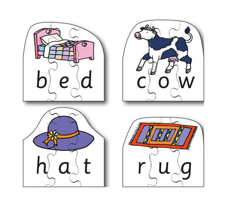 Early Years CVC Puzzles - Bed, Cow, Hat & Rug (4 puzzles in one box)