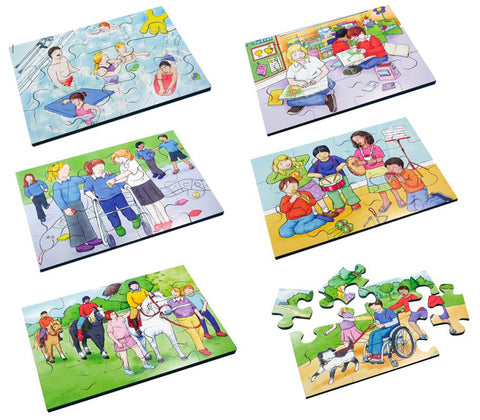 Junior Wooden Jigsaw Puzzles - Inclusive Activities (6 puzzles in one box)