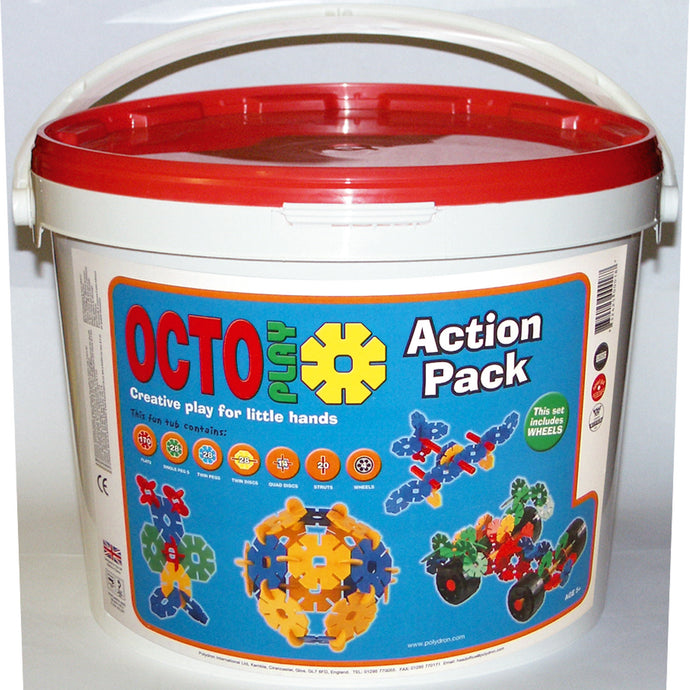 Polydron Octoplay 300-piece Action Pack (Age 3+) - creative building play for little hands