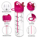 Be-Active Motivational Sports Water Bottle with Time Markings - BPA Free (Pink)