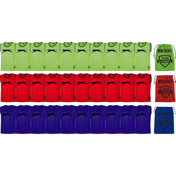 Slazenger Football / Sports Training Bibs & Storage - Pack A (Green/Red/Royal -Junior)