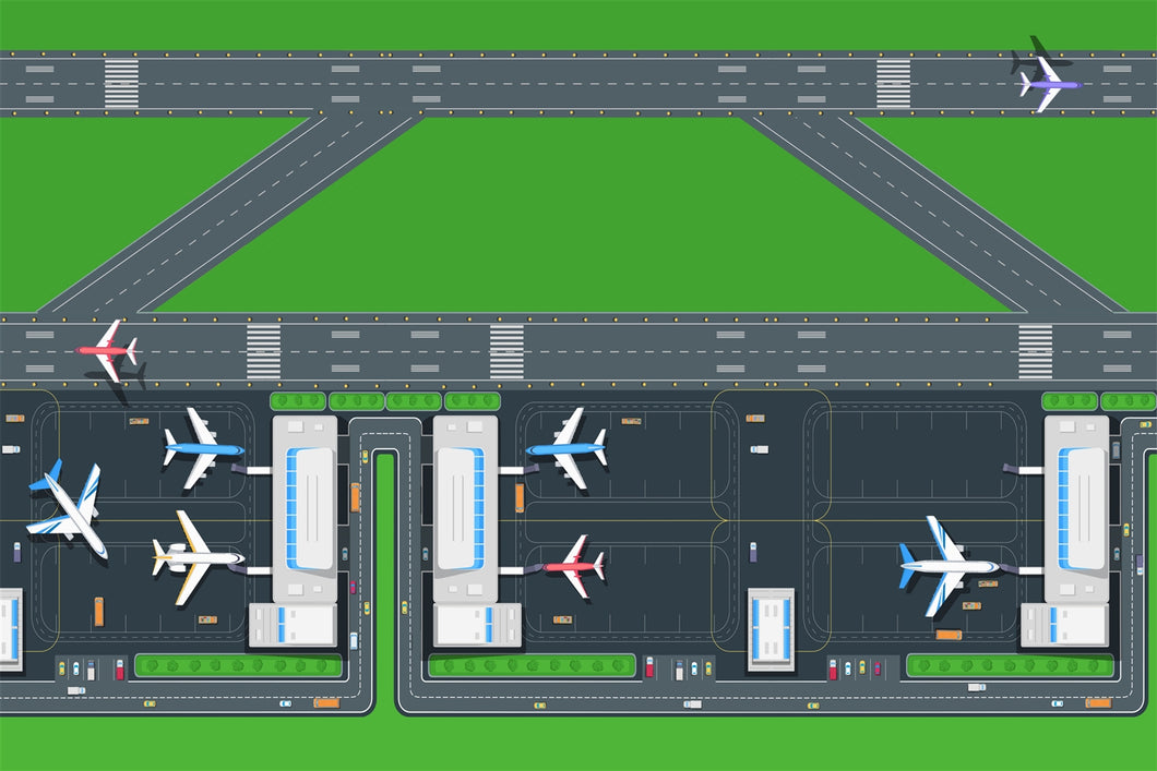 Giant New Airport & Runway Playmat - A fun addition to the bedroom, nursery or classroom (150 x 100cm)