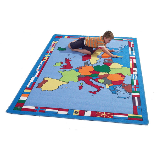 Giant European Map Rug - A Fun, Learning Addition For The Bedroom, Playroom, Nursery Or Class Room!