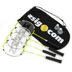 Zsig Badminton Racket Set (4 Rackets plus 2 shuttles & Bag) - Great for the Family!