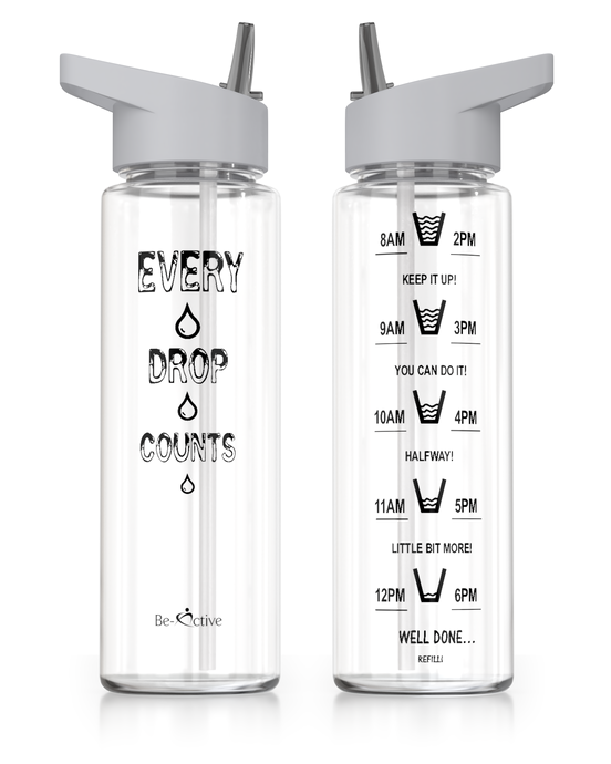 Motivational Sports Water Bottle Grey