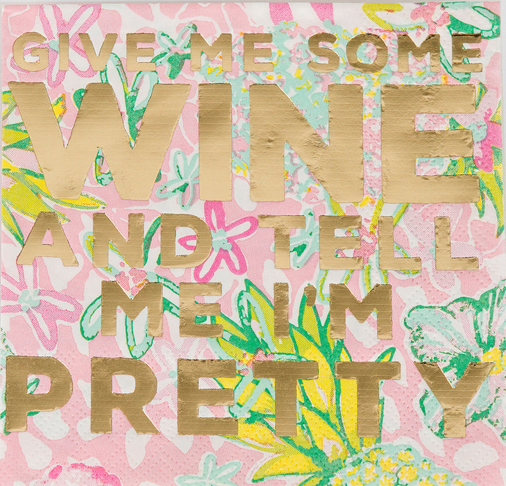 Beverage Napkin - Give Me Some Wine and Tell Me I'm Pretty - Lux Fragrances