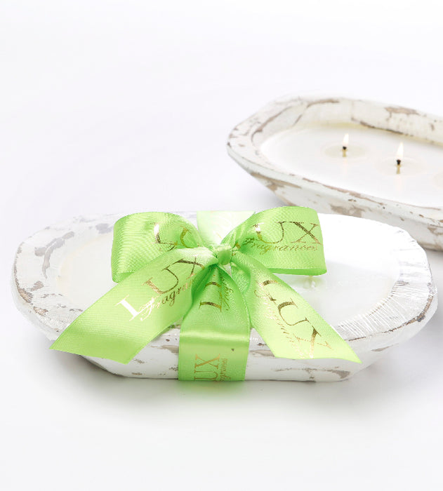 Lime Blossom - Dough Bowl (white) 3 Wick Candle - Lux Fragrances