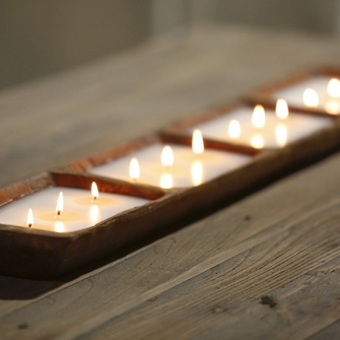 Unscented Dining Table Dough Bowl Candle -12 Wick - Lux Fragrances