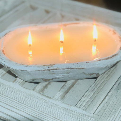 Blue Hydrangea - Dough Bowl (white) 3 Wick Candle - Lux Fragrances