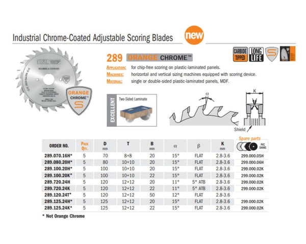 Chrome Industrial Coated Adjustable Scoring Saw Blades