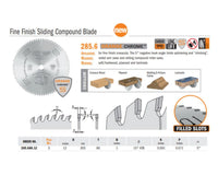 Chrome Fine Finish Sliding Compound Saw Blades