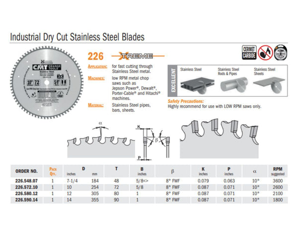 Chrome Industrial Dry Cut Stainless Steel Saw Blades