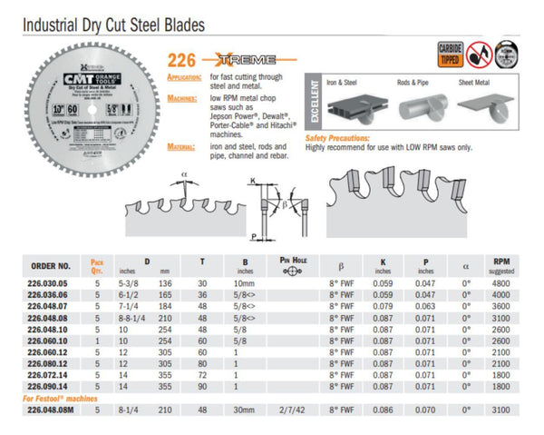 Chrome Industrial Dry Cut Steel Saw Blades