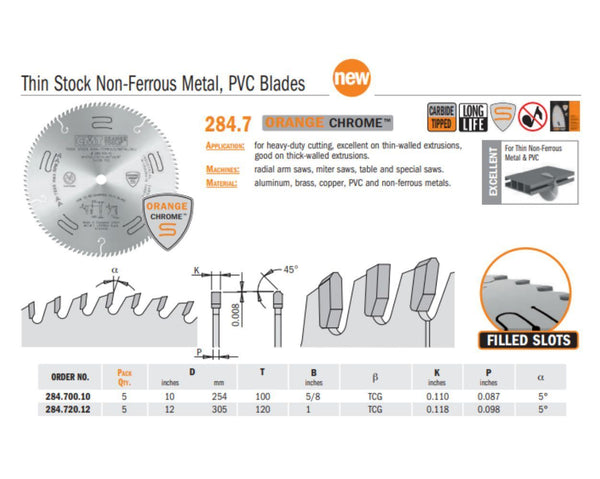 Chrome Thin Stock Non Ferrous Metal, PVC Saw Blades