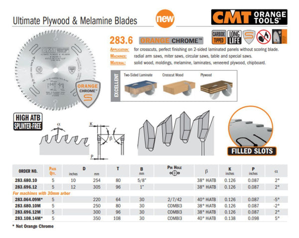 Chrome Ultimate Plywood & Melamine Saw Blades