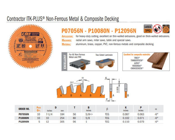 Contractor ITK-PLUS Non-Ferrous Metal and Composite Decking Saw Bladess
