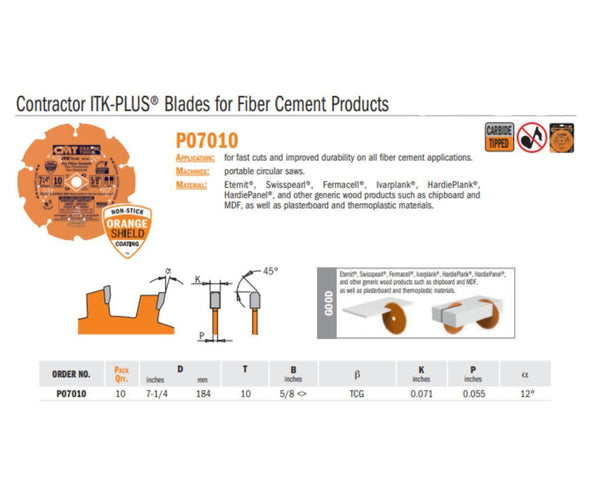 Contractor ITK-PLUS Blades for Fiber Cement Products