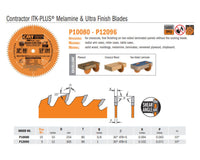 Contractor ITK-PLUS Melamine and Ultra Finish Saw Blades