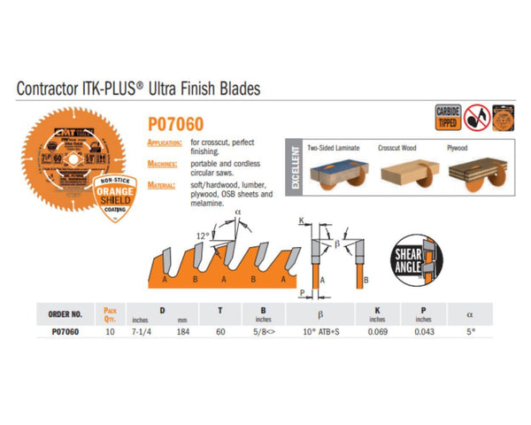 Contractor ITK-PLUS Ultra Finish Saw Blades