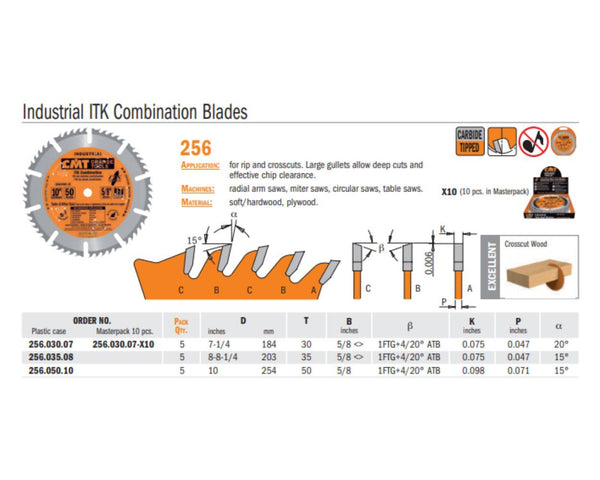 Industrial ITK Combination Saw Blade