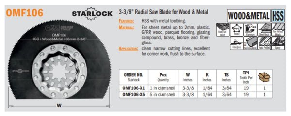 Multi-Tool 3-3/8 Inch Radial Saw Blade for Wood & Metal